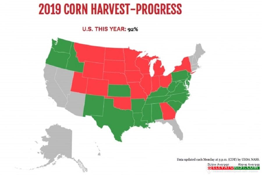 Погодные условия в США затрудняют завершение уборки кукурузы.