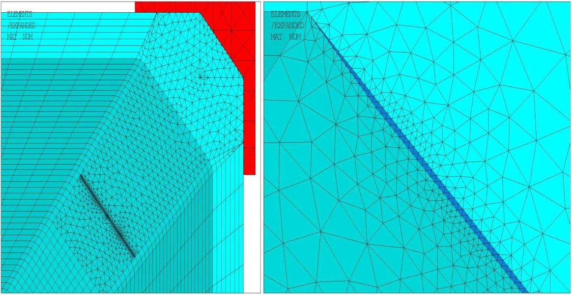 Рисунок 8 – Конечно-элементная сетка в модели с трещинами 2-го типа: а – общий вид вблизи горизонтальной трещины; б – вид со стороны левого края трещины