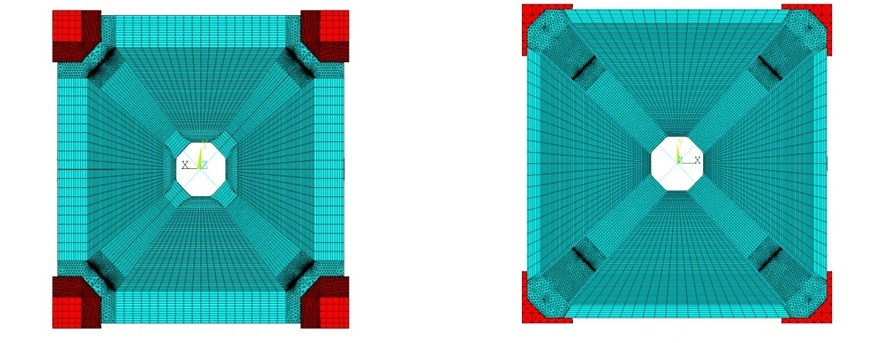 Рисунок 5. Конечно-элементная модель днища, ослабленного четырьмя горизонтальными трещинами: а — вид снизу; б — общий вид сверху