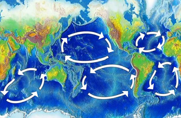 Иллюстрация Advanced Earth and Space Science. Карта океанических течений