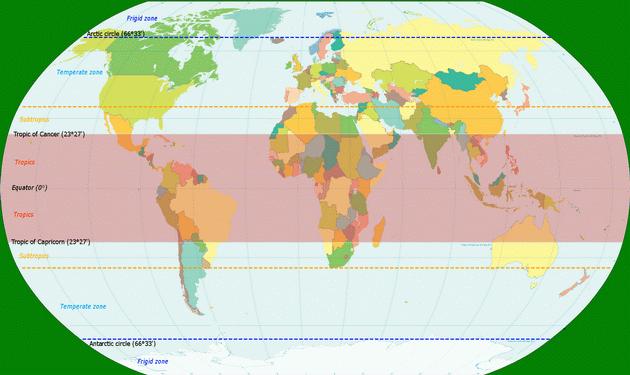 Иллюстрация Advanced Earth and Space Science. Карта расположения тропического пояса