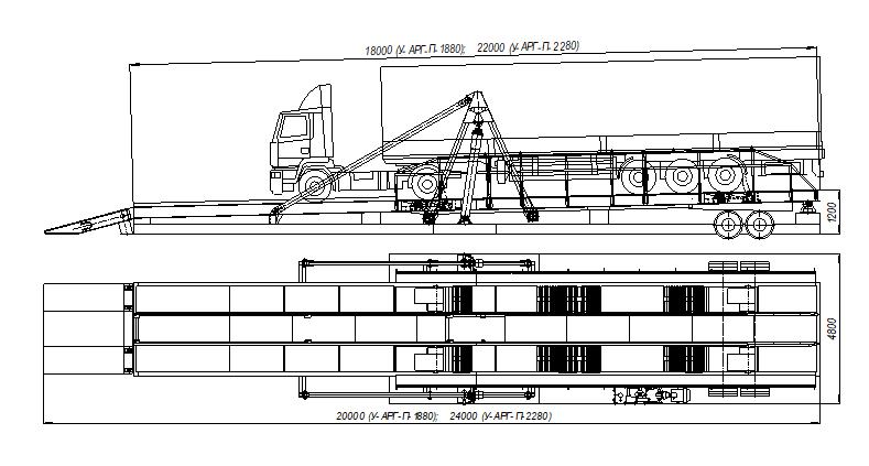 Схема установки автомобиля с прицепом на автомобилеразгрузчике «Элеваторпромсервис»