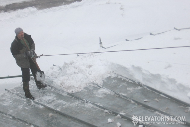 Слой снега на крыше силоса