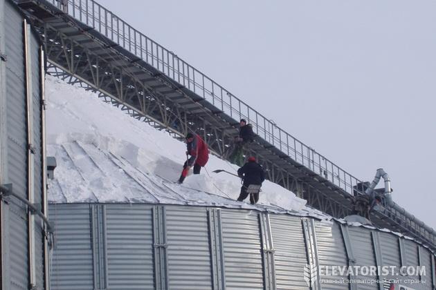 Уборка снега с крыши силоса